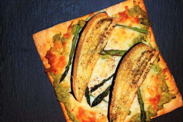 pizza asperges et aubergines